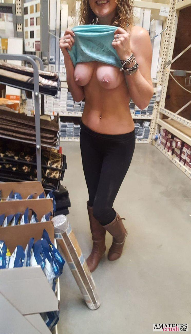 Sexy brunette with natural big tits.